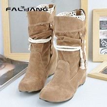 2017 New Fashion height increasing Shoes Woman Ankle Boots nubuck Leather Casual Autumn Boots Female Cowboy boots