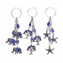 Fashion elephant, starfish, small tree Turkey blue eyes evil spirits key chain bag car pendant (long 12.3cm) accessories(China)