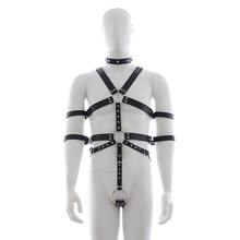 Buy Adults Games Adjustable PU Leather Harness Men Body Fetish Sex Bondage Restraint Male Slave Strap Belt Sexy Sex Product