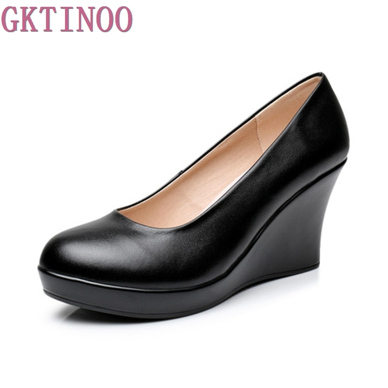 New Fashion High Heels Women Genuine Leather Black Casual Shoes Woman Wedges Comfortable Women Pumps<br>