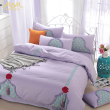 Korean Style Luxury Bedding Sets King Queen Size Bed Linen Clothes with Pendant  Cotton Princess Solid Wedding Duvet Cover Set