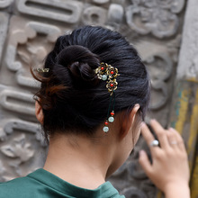 Fashion nature Aventurine Quatz vintage hairsticks,red stone Ethnic hairpins,Thailand copper flowers hairjewelry(China)