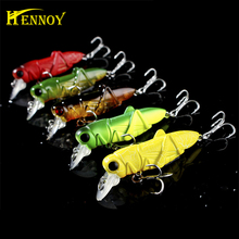 Hennoy 1 pcs High quality Fishing Wobbler Hard Insect Bait Grasshopper Fishing Lure 55mm crankbait Lures for Trolling