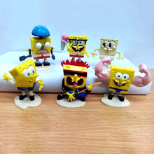 6pcs/lot Spongebob 2015 Toys Doll PVC Action Figures Sponge Bob Anime Figure Bob Esponja Figurines Kids Toys for Boys Girls