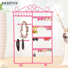 2017 Big Promotion Jewelry Hanging Holder Earrings Necklace Studs Jewelry Display Rack Metal Stand Organizer Holder