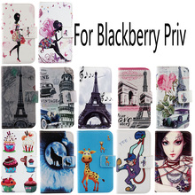 AiLiShi New Arrive Fashion Cartoon PU Leather Case For Blackberry Priv Colorful Painted Cover Skin Book-Style Flip