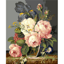DaFen Wholesale DIY Art Handmade Wall Painting By Numbers Classical Flower Digital Oil Painting on Canvas Still Life Painting(China)