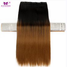 Neverland Women 24'' 60cm 140g Ombre 5Clips Clip-in Synthetic Hair Extensions Long Straight Dip Dye One Piece Hairpiece Wigs