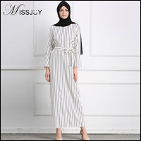 MISSJOY-Fashion-islamic-Muslim-Clothes-Women-Long-Sleeve-White-Striped-Print-dubai-prayer-abaya-maxi-dress