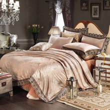 4Pcs Modal Cotton Bedding Set Luxury Jacquard Silky Golden Series Include Duvet Cover Flat Sheet and Pillow Cases