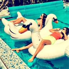 1.5M Summer Giant Swan Inflatable Float Air Mattresses Swimming Pool Toy Water Pool Toys Swan Float Inflatable Swim Ring(China)