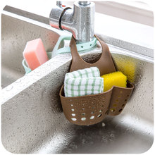 Kitchen Plastic Organizer Adjustable Buckle Sink Holder Wall Shelf Gadget Drain Hanging Storage Bag Sale Rushed(China)