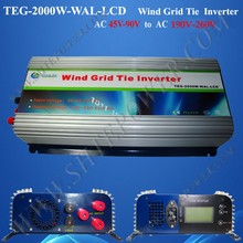 2000W/2KW Grid Tie Inverter,wind grid tie inverter,power inverter (TEG-2000W-WAL-LCD),MPPT Function AC45-90V input