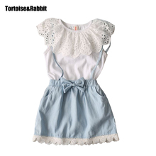 Summer Toddler Hollow Dress Elegant Little Girl Dress Child Denim Sundress Baby Girls Costumes Teens Design Clothes For Holiday(China)