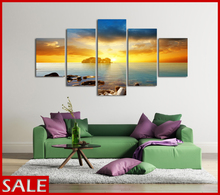 5 Panels Canvas Print Huge HD Sunset Seascape Sea Stones Wall Art Picture Top-rated For Living Room Painting Artwork Frameworks