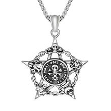 Dropshipping Titanium Steel Antique Silver Pentagram Relief Skull Decorative Patter Pendant Necklace Punk Style Jewelry