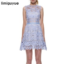 limiguyue sleeveless hollow out tunic mini short blue lace dresses vestidos self portrait designer runway party dress H0573(China)