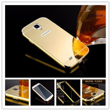 Fashion Luxury Rose Gold Mirror Phone Cases For Samsung Galaxy S4 mini i9190 Alumimum Metal Frame shell for S4 mini Back Cover(China)