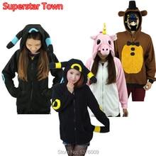 Unisex Cosplay Coat Pikachu Rainbow Unicorn Umbreon Hoodies Hooded Coat Five Night Freddy Bear Xmas Halloween Jacket Costume