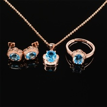 Haleigha Nature Topaz 925 Sterling Silver Fine Jewelry Rose Gold Color Lovely Charming Flower Gift 3 Piece Jewelry Set for Women