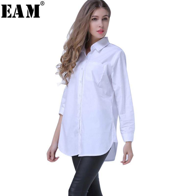 EAM 2018 Spring Lapel Fashion New Long Sleeves Solid Color Blue Striped Long Paragraph Loose Women Shirt Tide G01605