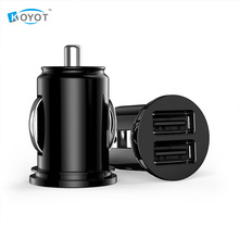 Free shipping Car Truck Dual 2 Port USB Mini Charger Adapter for iPhone Black 12V Power New