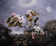 flower oil painting Apple Blossoms and Hummingbird by Martin Johnson Heade canvas painting 100%handmade Mesuem quality