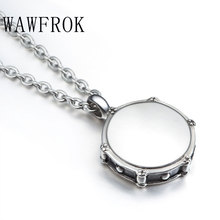 WAWFROK Fashion Music Men Los Collares Rockers Jazz Band Drum Drummers 316L Stainless Steel Necklace Pendant Jewelry N-148