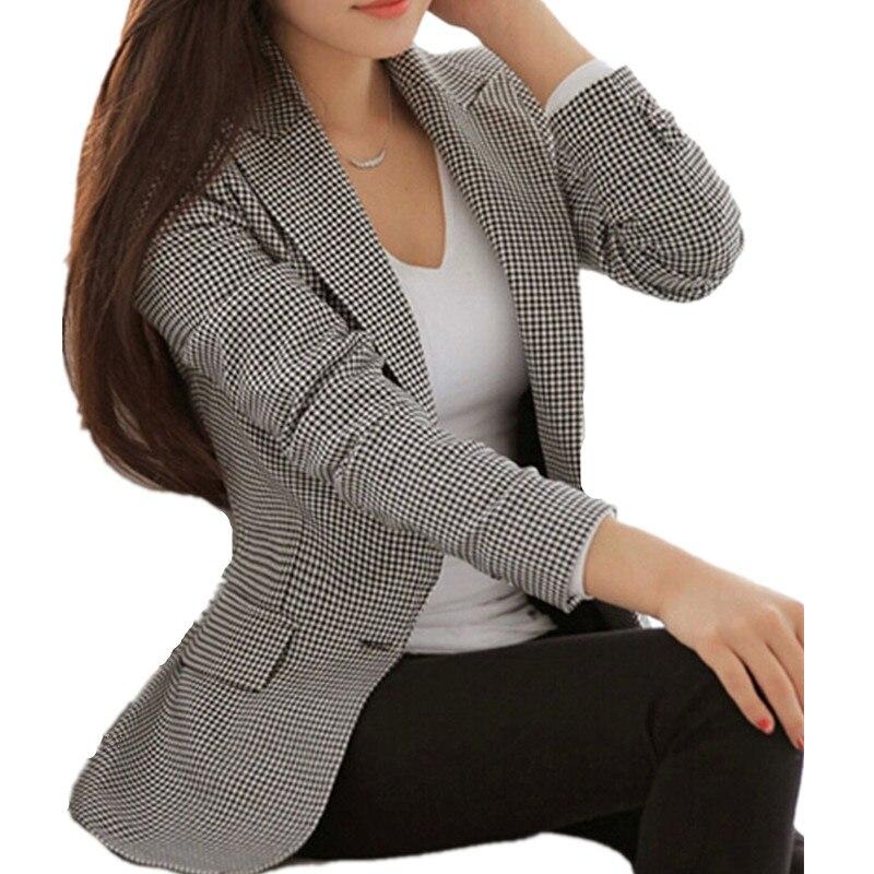 Женские клетчатые пиджаки и жакеты костюм дамы с длинным рукавом Повседневная обувь пиджак плюс Размеры повседневная женская обувь верхня...(China)