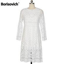 New 2017 Spring Fashion Hollow Out Elegant White Lace Elegant Party Dress High Quality Women Long Sleeve Casual Dresses H016