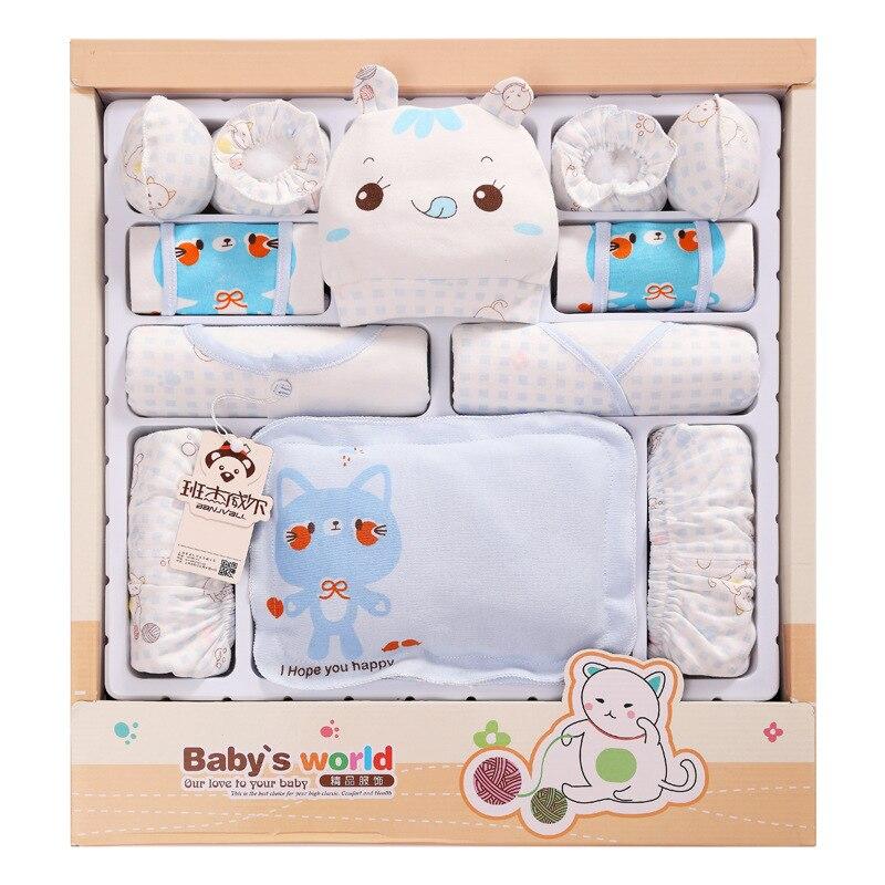16pcs/set Blue Cotton Newborn Baby Clothing Cute  Baby  Clothes<br>