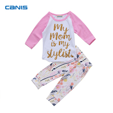 2Pcs New Pink Stylist Mom Letter Newborn Infant Baby Girls Tops T-shirt Outfits Set Pants(China)