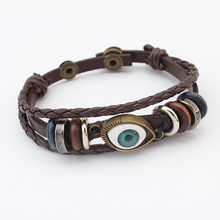 Evil Eye Jewelry Bracelet cowhide cord Zinc Alloy, antique bronze color plated, 3-strand, 22cm, Sold Per Approx 8.5 Inch Strand
