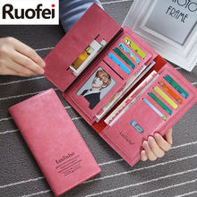 2017 new hot sales Womens fashion Purses Young lady big capacity Long Wallets females PU Leather clutch bags Cards Holder wallet(China)
