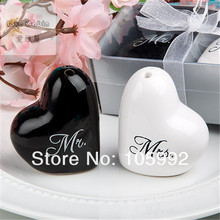 "Heart Shaped ""Mr.&Ms."" Salt And Pepper Shaker Wedding Gifts For Guest DHL or fedex Free Shipping 100pcs=50Sets/lot(China)"