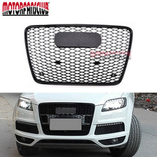 Black Mesh Honeycomb Bumper Grill Cover Racing Grills For Audi Q7 RSQ7 Style 2006-2015 Front Sport Grille Accessories Protector(China)