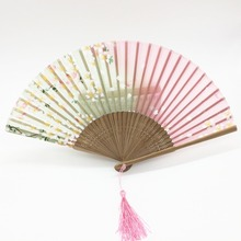 Wholesale 100pcs/lot Vintage Japanese Bamboo Silk Hand Fan Cherry Blossom Painted Folding Fan Craft Christmas Gift 21x38cm