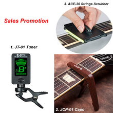 Packing 3 in 1 JT-01 Tuner, ACE-30 String Scrubber Fingerboard Cleaner, JCP-01 Capo for Guitar Bass Instruments Free Shipping(China)