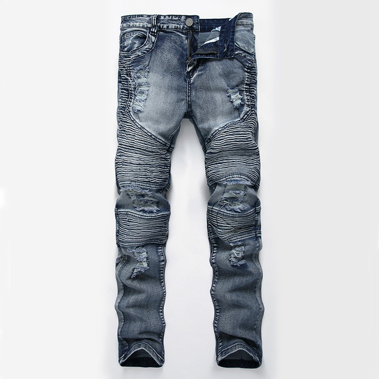 Aolamegs Men Jeans Pants Hole Ruched Full Length High Street Crest Multiple Colors High Elastic Light Cultivation Denim Straight (24)