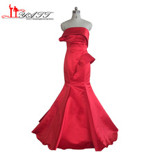 Real Photo Vestido de fiesta 2016 Red Satin Mermaid Strapless Cheap Afriacn Arabian indian saree Evening Prom Dresses LIYATT