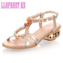 Lloprost ke 2017 new sheepskin summer sandals thick with fish head peep toe lady shoes ankle strap sandals women shoes JT066