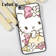 LvheCn phone case cover fit for iPhone 4 4s 5 5s 5c SE 6 6s 7 8 plus X ipod touch 4 5 6 Hello Kitty Pink Floral(China)
