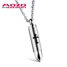 MOZO FASHION Hot Brand Men Punk Jewelry Bullet Pendant Choker Necklace Cool Men Gift Stainless Steel Link Chain Necklaces MGX112