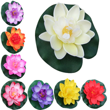 1PC Floating Artificial Lotus Ornament for Aquarium Fish Tank Pond Water lily Lotus Artificial Flowers Home head for Decoration(China)