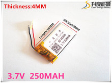 3.7V 402035 250mah lithium-ion polymer battery quality goods quality of CE FCC ROHS certification authority