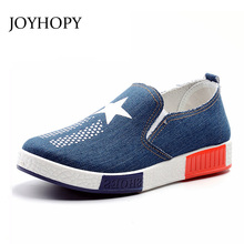 JOYHOPY Spring Women Denim Loafers Star Soft Slip On Flats For 2017 Summer Style Canvas Flat Shoes Woman Plus Size 40 AWF0007(China)