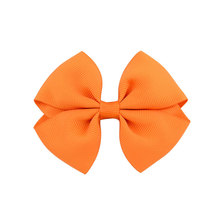 kids girls 3.5inch ribbon hair bows with clips boutique hairbow cute hairclip 20pcs/pack,red black royal blue lime orange brown
