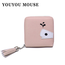 YOUYOU MOUSE Fashion Whale Design Women Zipper Wallet PU Leather Money Wallets Bag Cute Cartoon Female Coin Purse Card Holder