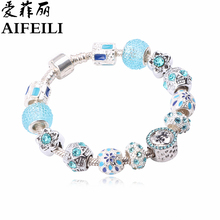 Buy AIFEILI Vintage Blue Color Charm Glass Bracelets Women Crystal Heart Beads Bracelets & Bangles Pulseras DIY Fashion Jewelry for $3.90 in AliExpress store