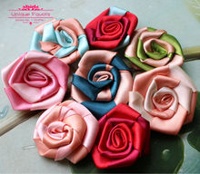 25pcs Chic Bicolor Patchwork Satin Rolled Flowers 65mm Handmade Decorative Flowers Wedding Corsage, Brooch, Headband, DIY Craft